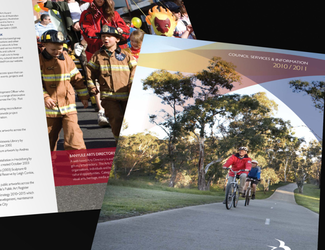 Banyule City Council Annual Services Guide cover and spread